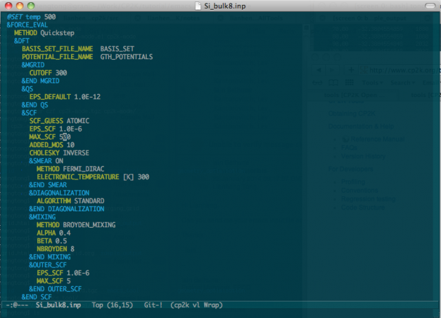 emacs screen shot for cp2k input