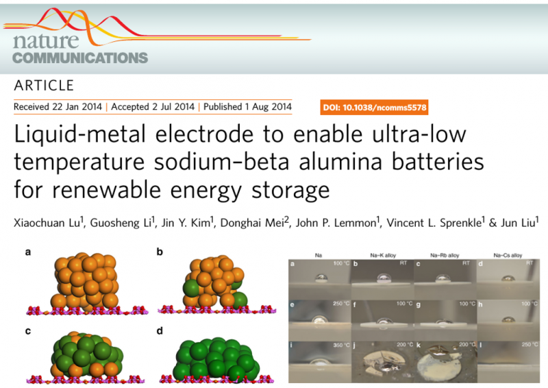 Liquid-metal electrode to enable ultra-low temperature sodium-beta alumina batteries for renewable energy storage