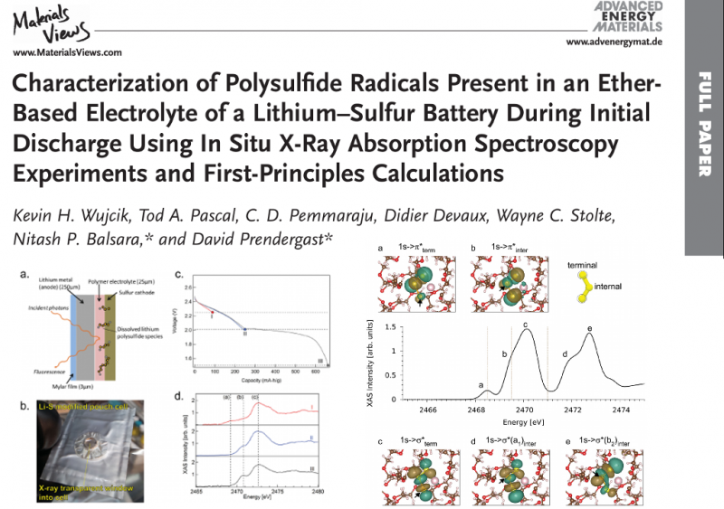 Characterization of Polysulfide Radicals Present in an Ether-Based Electrolyte of a Lithium–Sulfur Battery During Initial Discharge Using In Situ X-Ray Absorption Spectroscopy Experiments and First-Principles Calculations
