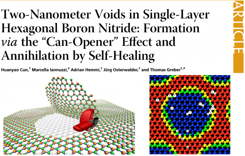 "Two-Nanometer Voids in Single-Layer Hexagonal Boron Nitride: Formation via the ""Can-Opener"" Effect and Annihilation by Self-Healing"