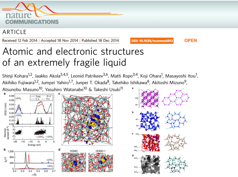 Atomic and electronic structures of an extremely fragile liquid