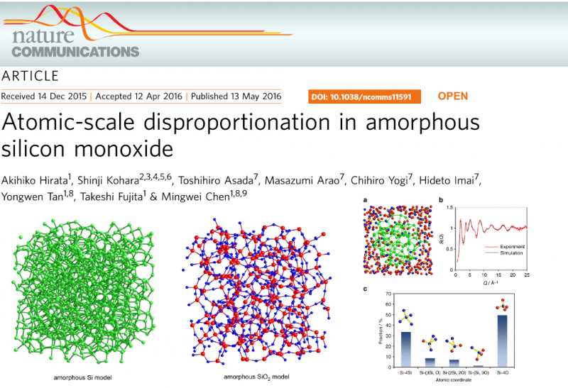 Atomic-scale disproportionation in amorphous silicon monoxide