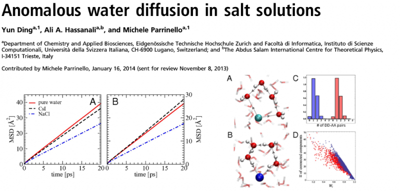 Anomalous water diffusion in salt solutions