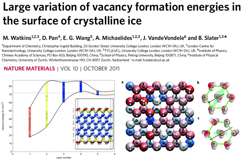 Large variation of vacancy formation energies in the surface of crystalline ice