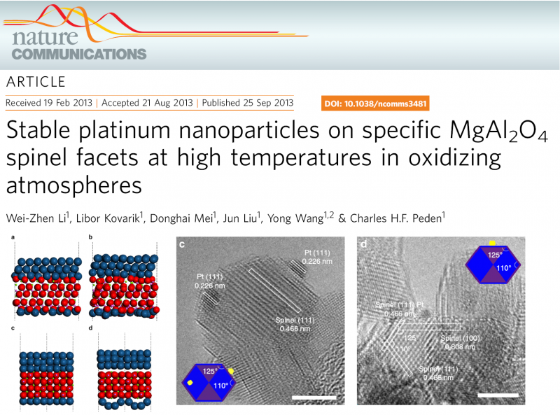 Stable platinum nanoparticles on specific MgAl2O4 spinel facets at high temperatures in oxidizing atmospheres