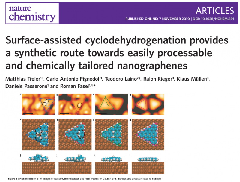 Surface-assisted cyclodehydrogenation provides a synthetic route towards easily processable and chemically tailored nanographenes