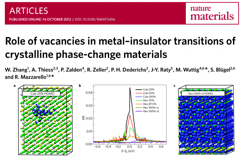 Role of vacancies in metal–insulator transitions of crystalline phase-change materials
