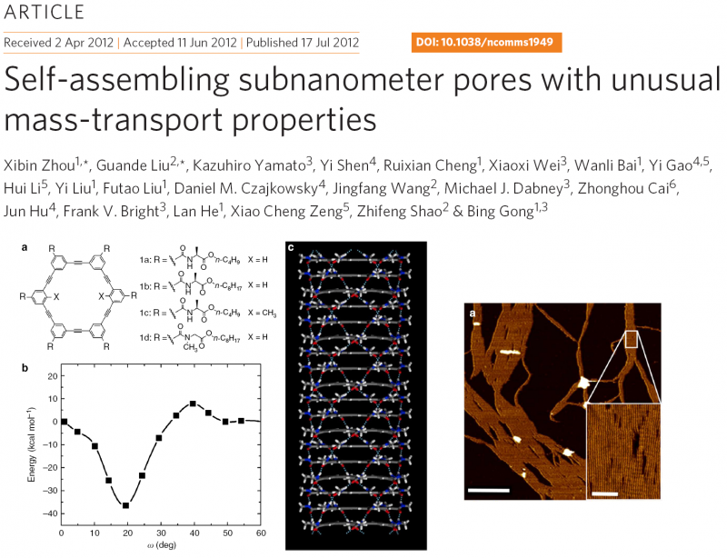 Self-assembling subnanometer pores with unusual mass-transport properties